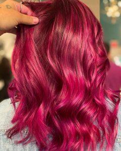 Vivid red pink hair