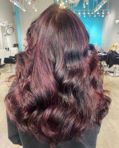 Violet highlights on dark hair Cary NC